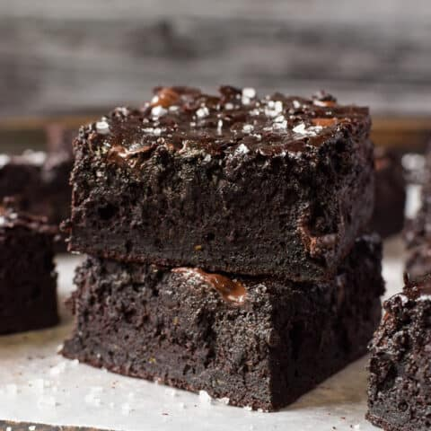Fudgy Dark Chocolate Zucchini Brownies